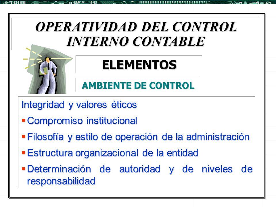 OPERATIVIDAD DEL CONTROL INTERNO CONTABLE Integridad y valores éticos  Compromiso institucional  Filosofía y estilo de operación de la administració