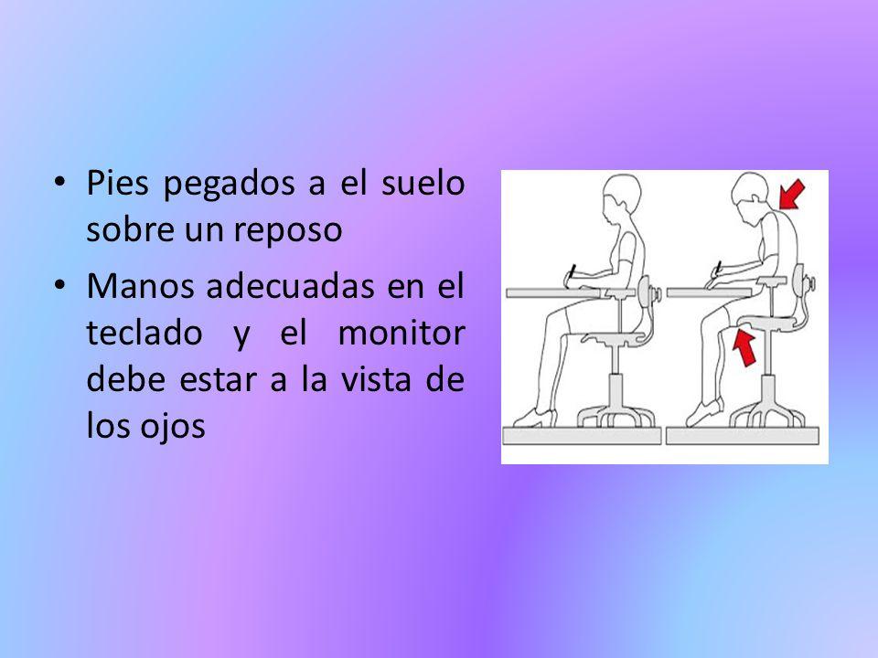 Pies pegados a el suelo sobre un reposo Manos adecuadas en el teclado y el monitor debe estar a la vista de los ojos
