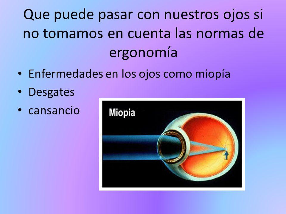Que puede pasar con nuestros ojos si no tomamos en cuenta las normas de ergonomía Enfermedades en los ojos como miopía Desgates cansancio