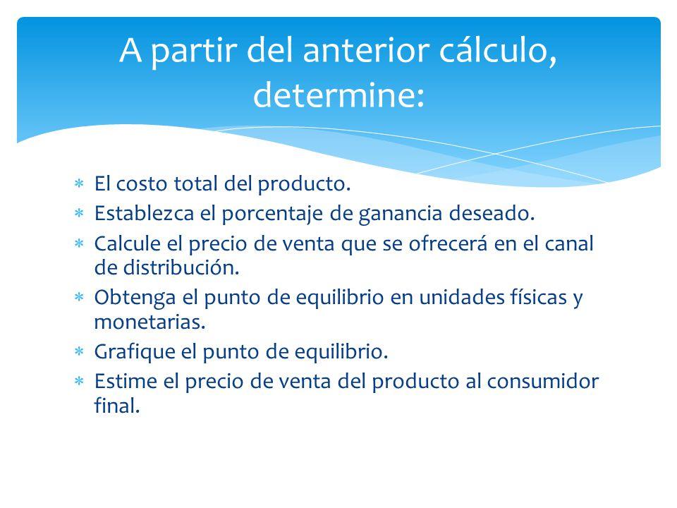  El costo total del producto.  Establezca el porcentaje de ganancia deseado.  Calcule el precio de venta que se ofrecerá en el canal de distribució
