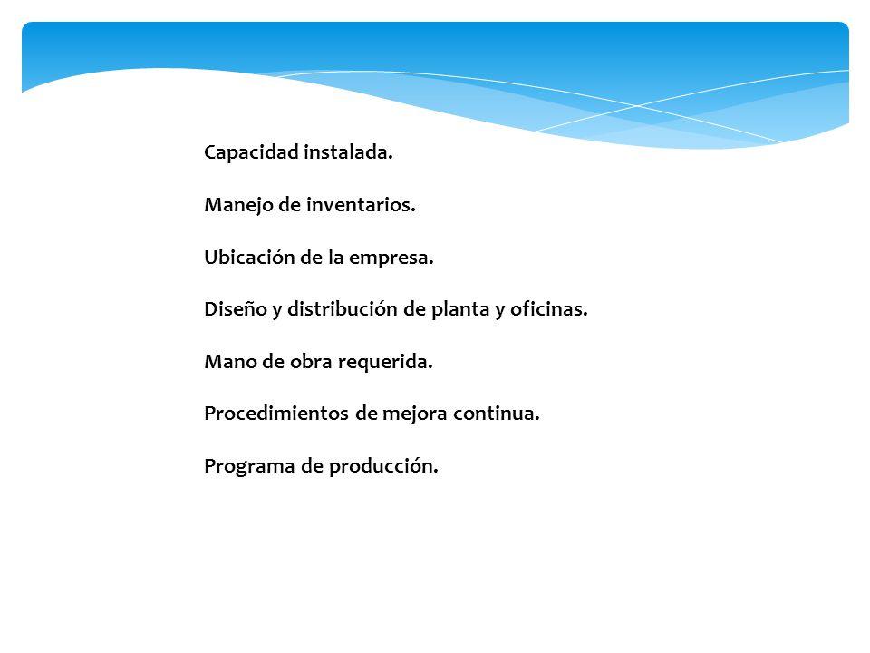 Capacidad instalada. Manejo de inventarios. Ubicación de la empresa. Diseño y distribución de planta y oficinas. Mano de obra requerida. Procedimiento