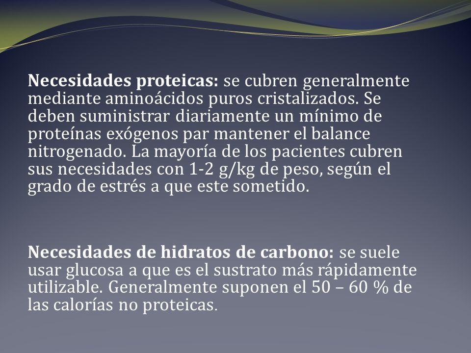 Necesidades proteicas: se cubren generalmente mediante aminoácidos puros cristalizados.