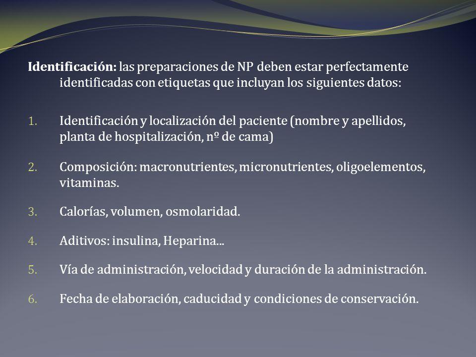 Identificación: las preparaciones de NP deben estar perfectamente identificadas con etiquetas que incluyan los siguientes datos: 1. Identificación y l