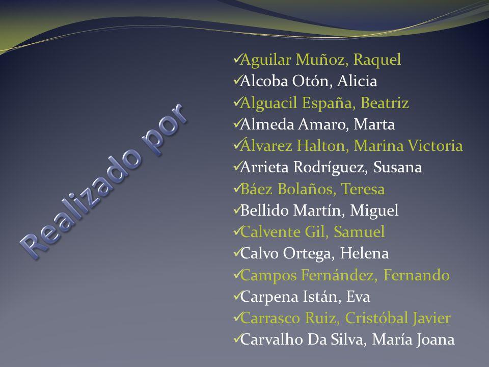 Aguilar Muñoz, Raquel Alcoba Otón, Alicia Alguacil España, Beatriz Almeda Amaro, Marta Álvarez Halton, Marina Victoria Arrieta Rodríguez, Susana Báez