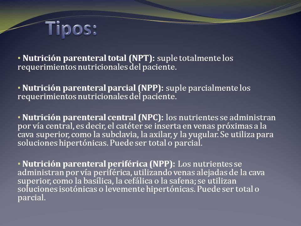 Nutrición parenteral total (NPT): suple totalmente los requerimientos nutricionales del paciente. Nutrición parenteral parcial (NPP): suple parcialmen