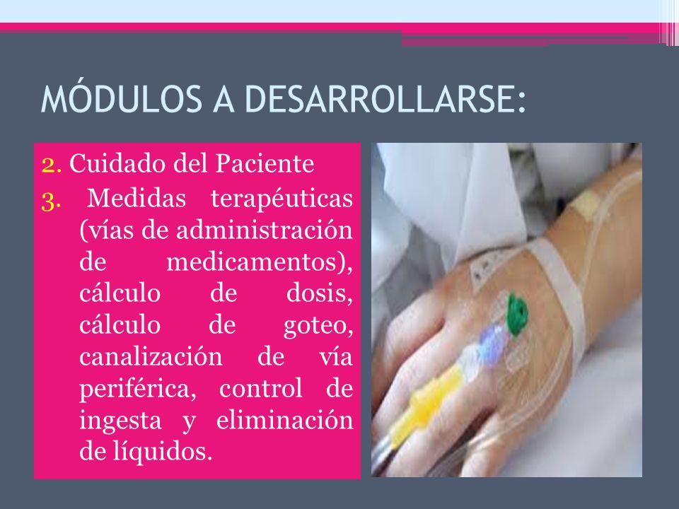 MÓDULOS A DESARROLLARSE: 2. Cuidado del Paciente 3.