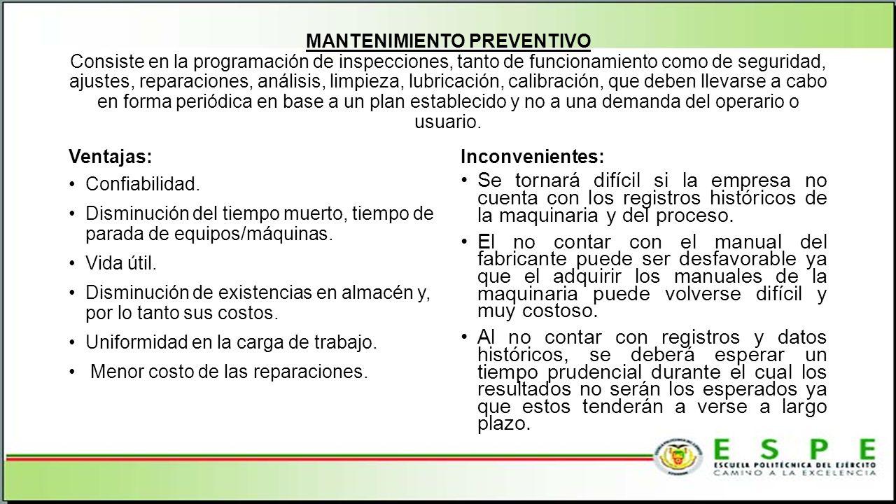 MANTENIMIENTO PREVENTIVO Consiste en la programación de inspecciones, tanto de funcionamiento como de seguridad, ajustes, reparaciones, análisis, limp