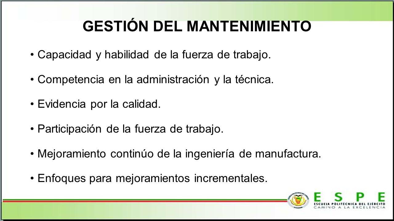 GESTIÓN DEL MANTENIMIENTO Capacidad y habilidad de la fuerza de trabajo. Competencia en la administración y la técnica. Evidencia por la calidad. Part
