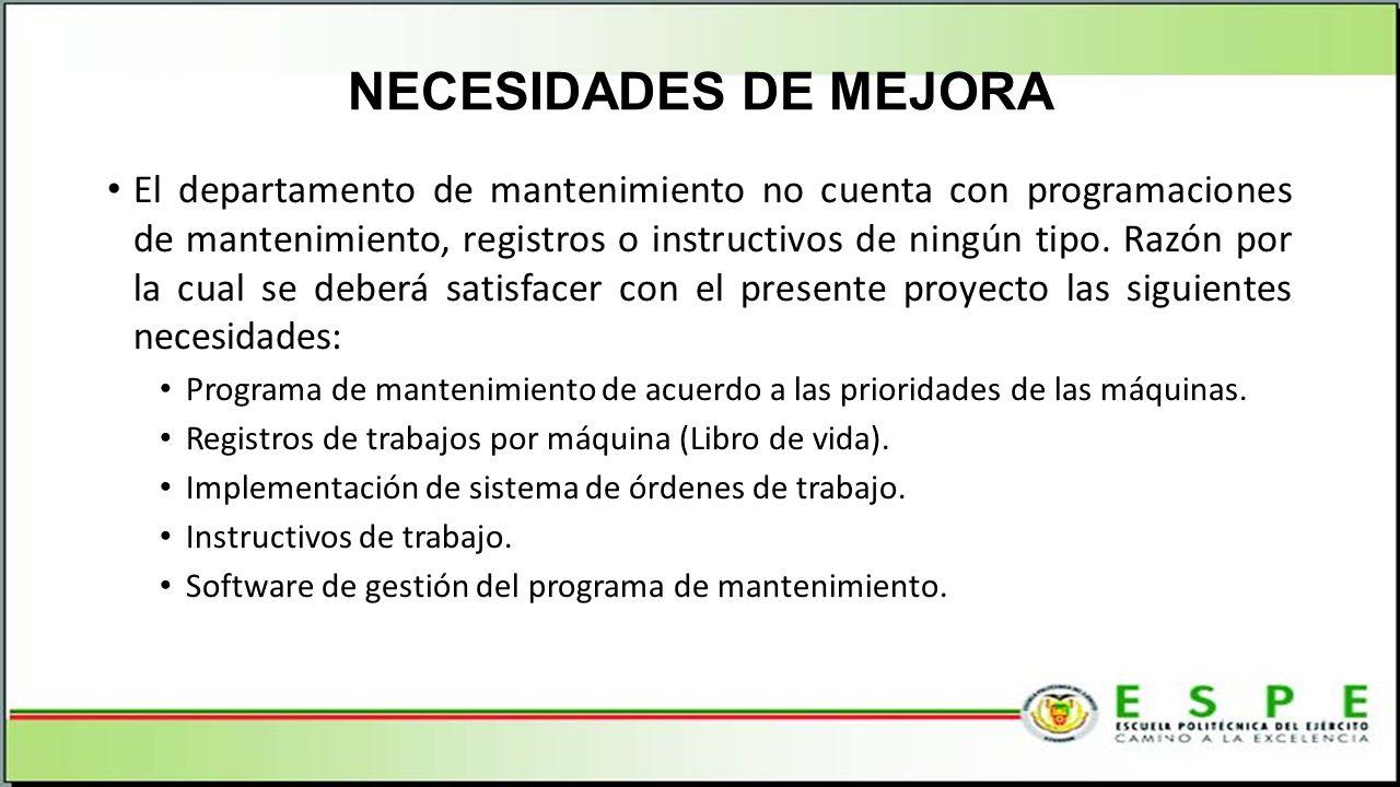 NECESIDADES DE MEJORA El departamento de mantenimiento no cuenta con programaciones de mantenimiento, registros o instructivos de ningún tipo. Razón p