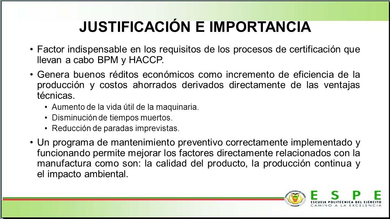 JUSTIFICACIÓN E IMPORTANCIA Factor indispensable en los requisitos de los procesos de certificación que llevan a cabo BPM y HACCP. Genera buenos rédit
