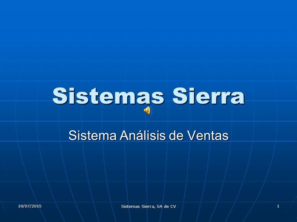 19/07/2015 Sistemas Sierra, SA de CV 1 Sistemas Sierra Sistema Análisis de Ventas