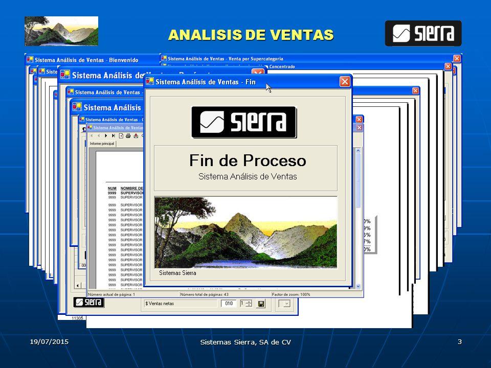 19/07/2015 Sistemas Sierra, SA de CV 3 ANALISIS DE VENTAS ANALISIS DE VENTAS