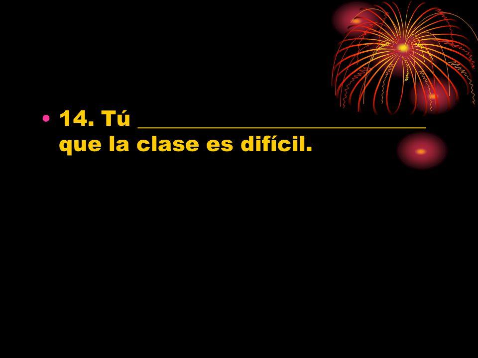 14. Tú ___________________________ que la clase es difícil.