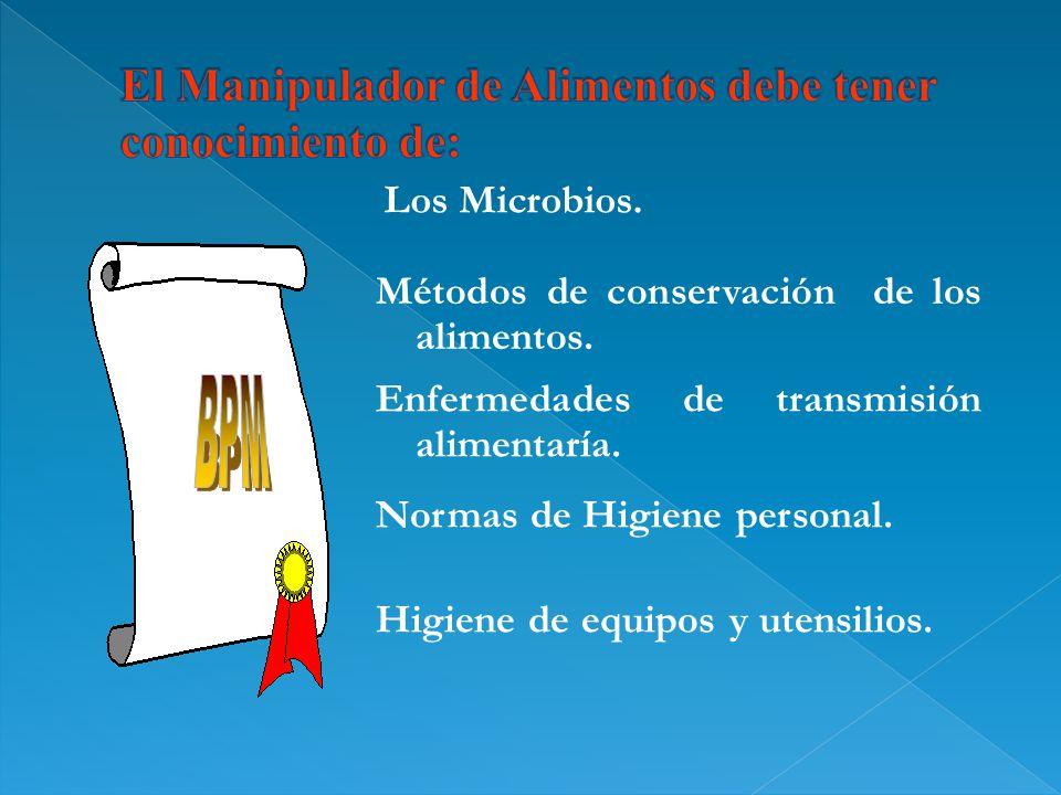 Los Microbios. Métodos de conservación de los alimentos. Enfermedades de transmisión alimentaría. Normas de Higiene personal. Higiene de equipos y ute