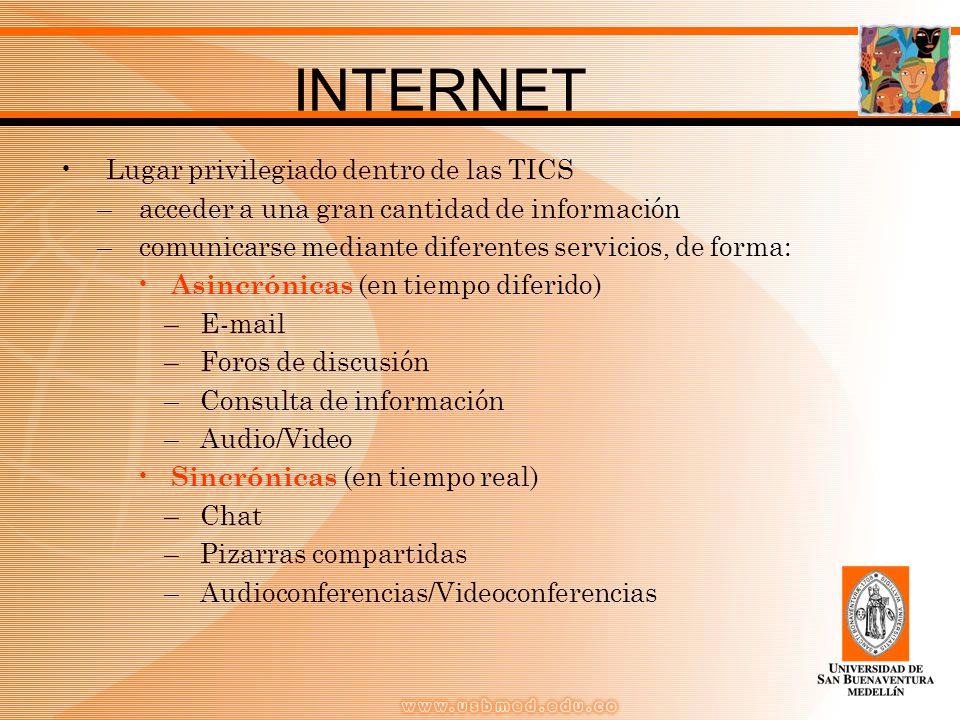 INTERNET Lugar privilegiado dentro de las TICS –acceder a una gran cantidad de información –comunicarse mediante diferentes servicios, de forma: Asincrónicas (en tiempo diferido) –E-mail –Foros de discusión –Consulta de información –Audio/Video Sincrónicas (en tiempo real) –Chat –Pizarras compartidas –Audioconferencias/Videoconferencias