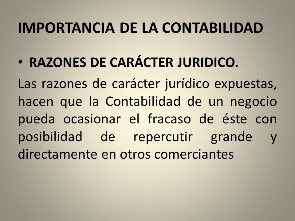 IMPORTANCIA DE LA CONTABILIDAD RAZONES DE CARÁCTER JURIDICO.