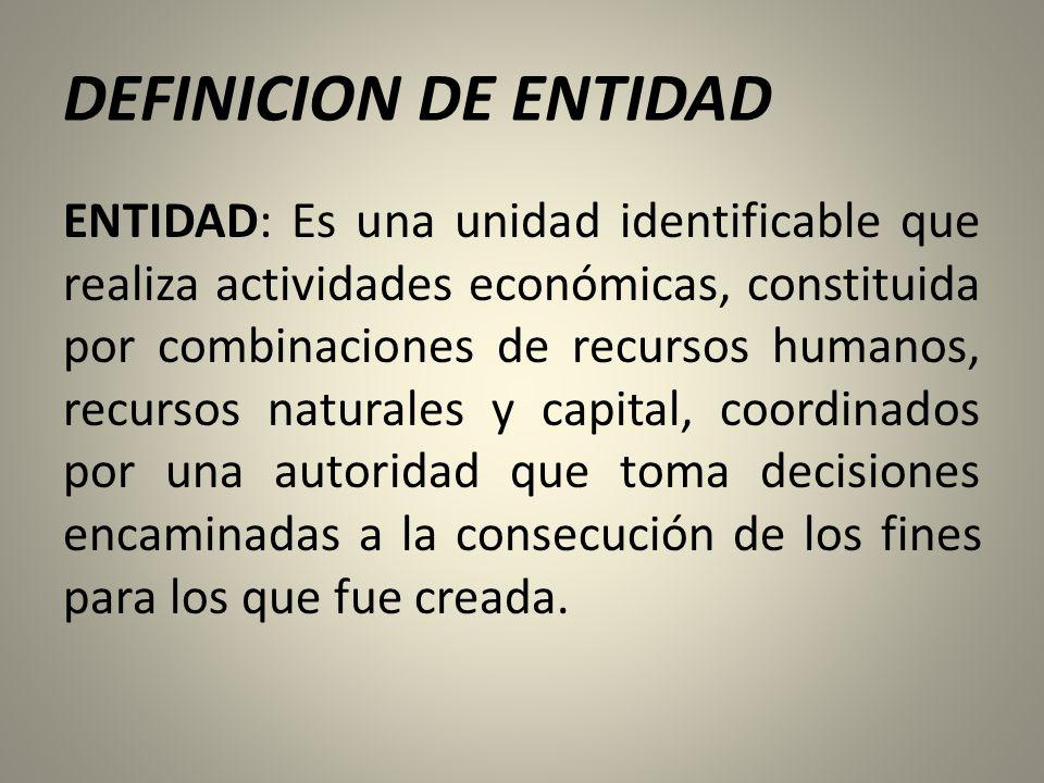 DEFINICION DE ENTIDAD ENTIDAD: Es una unidad identificable que realiza actividades económicas, constituida por combinaciones de recursos humanos, recursos naturales y capital, coordinados por una autoridad que toma decisiones encaminadas a la consecución de los fines para los que fue creada.