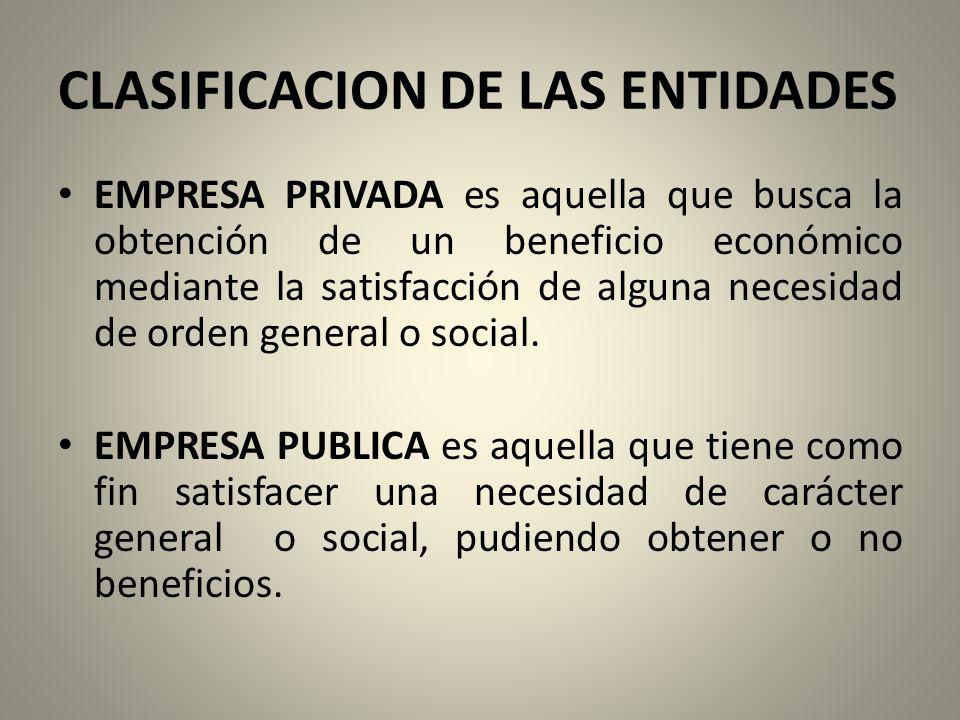 CLASIFICACION DE LAS ENTIDADES EMPRESA PRIVADA es aquella que busca la obtención de un beneficio económico mediante la satisfacción de alguna necesidad de orden general o social.