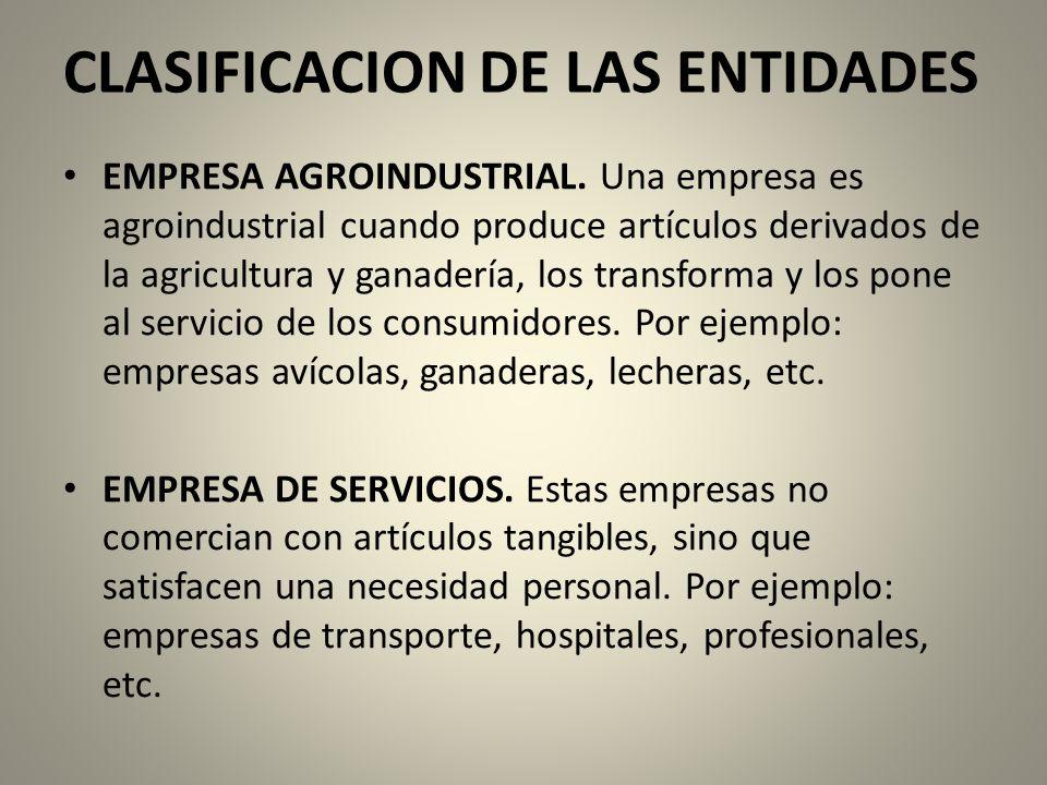 CLASIFICACION DE LAS ENTIDADES EMPRESA AGROINDUSTRIAL.