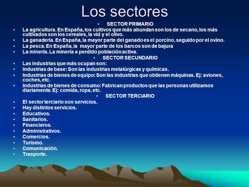 Los sectores SECTOR PRIMARIO La agricultura.