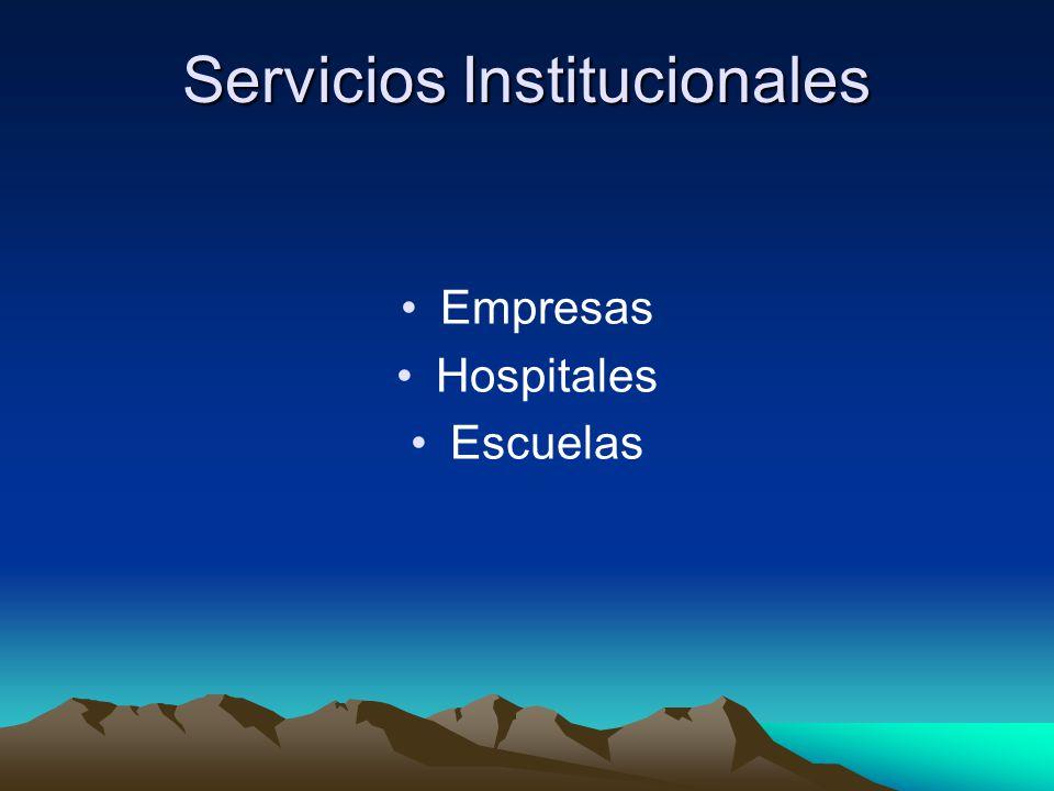 Comparación entre servicios Comerciales e Institucionales Administraciones comerciales ó con fines de lucro: 1.Independientes 2.Cadenas de Restaurantes 3.Franquicias
