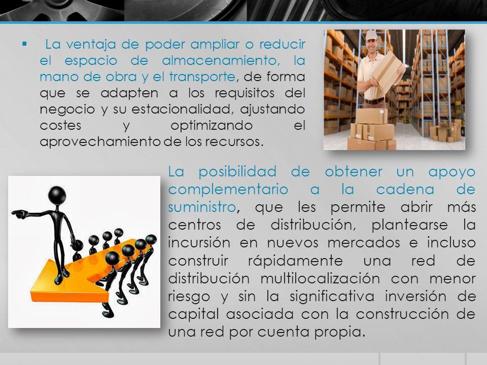  La ventaja de poder ampliar o reducir el espacio de almacenamiento, la mano de obra y el transporte, de forma que se adapten a los requisitos del ne