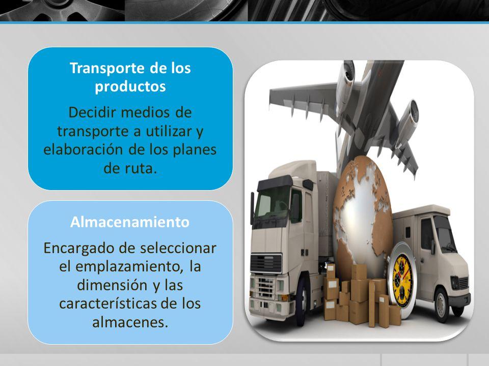 Transporte de los productos Decidir medios de transporte a utilizar y elaboración de los planes de ruta. Almacenamiento Encargado de seleccionar el em
