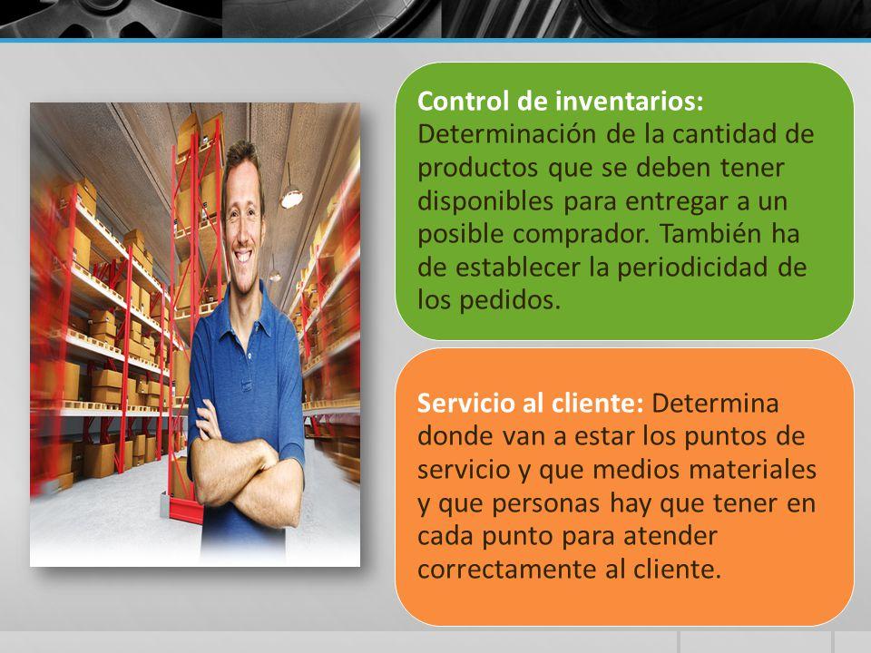 Control de inventarios: Determinación de la cantidad de productos que se deben tener disponibles para entregar a un posible comprador. También ha de e