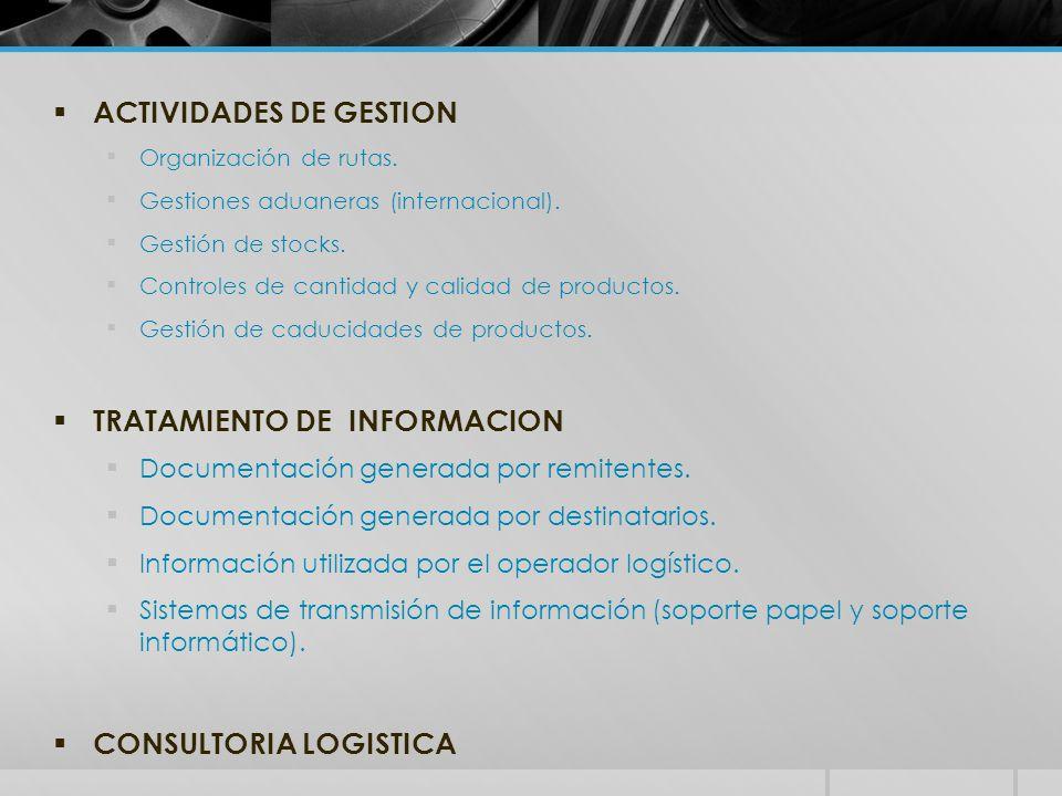  ACTIVIDADES DE GESTION Organización de rutas.Gestiones aduaneras (internacional).