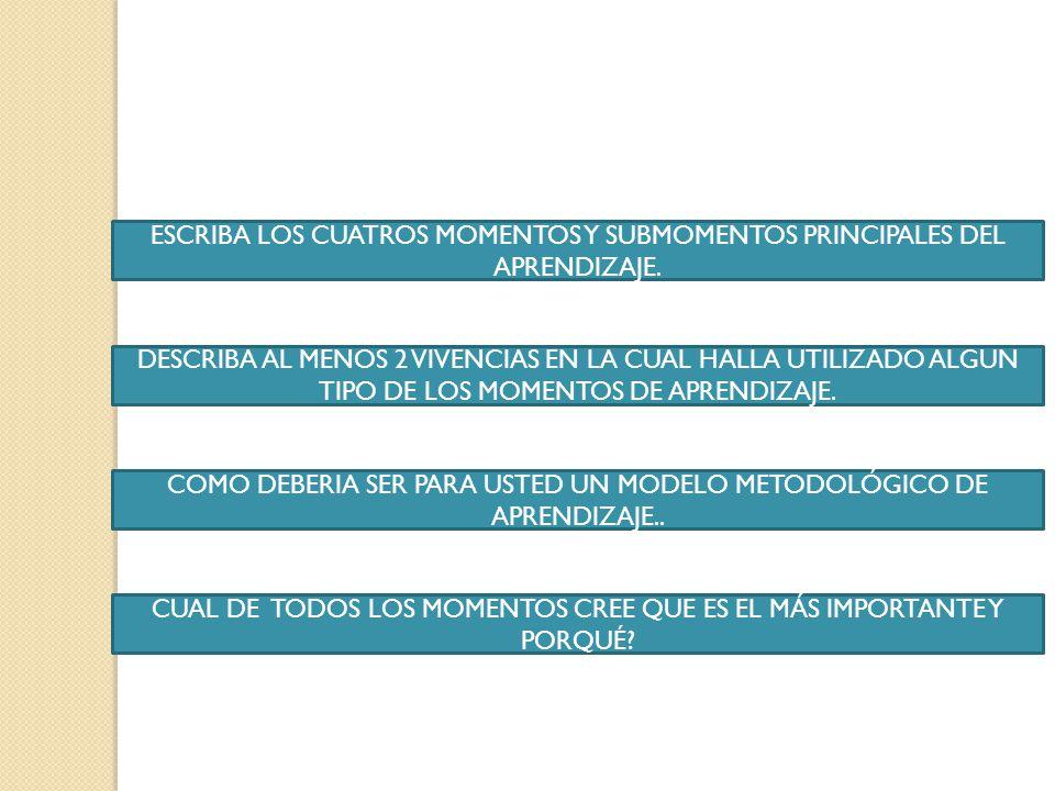 ESCRIBA LOS CUATROS MOMENTOS Y SUBMOMENTOS PRINCIPALES DEL APRENDIZAJE.