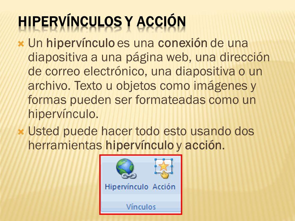  Un hipervínculo es una conexión de una diapositiva a una página web, una dirección de correo electrónico, una diapositiva o un archivo. Texto u obje