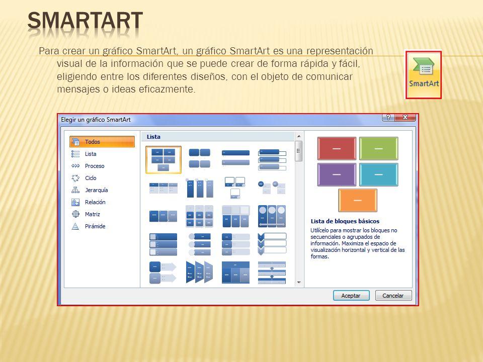 Para crear un gráfico SmartArt, un gráfico SmartArt es una representación visual de la información que se puede crear de forma rápida y fácil, eligien