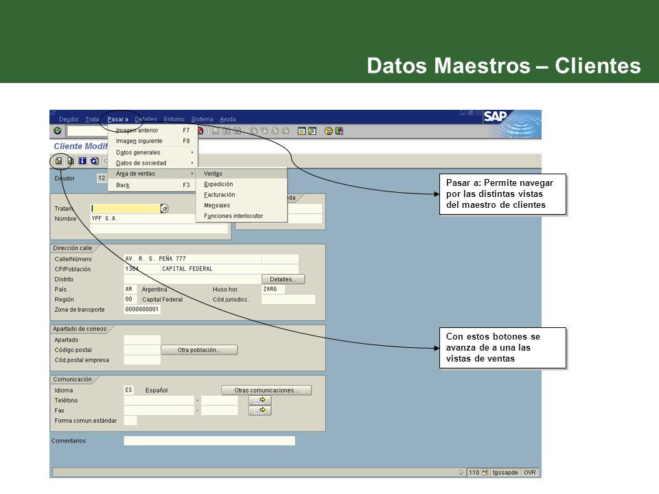 Datos Maestros – Clientes Con estos botones se avanza de a una las vistas de ventas Pasar a: Permite navegar por las distintas vistas del maestro de c