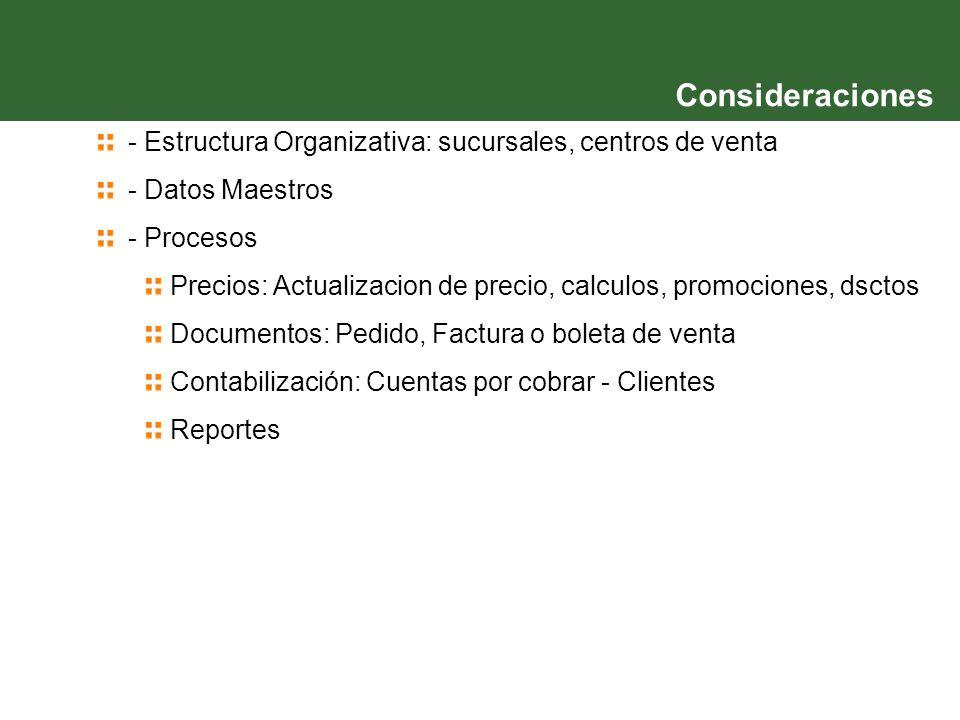 - Estructura Organizativa: sucursales, centros de venta - Datos Maestros - Procesos Precios: Actualizacion de precio, calculos, promociones, dsctos Do