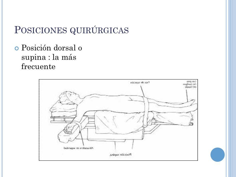 P OSICIONES QUIRÚRGICAS Posición dorsal o supina : la más frecuente