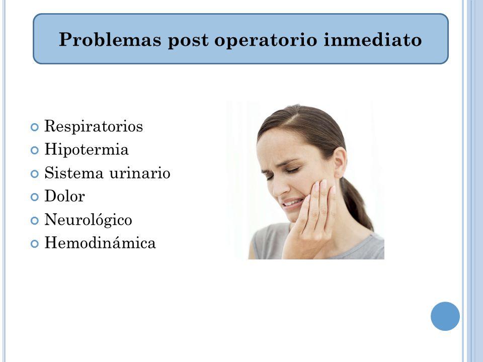 Respiratorios Hipotermia Sistema urinario Dolor Neurológico Hemodinámica Problemas post operatorio inmediato
