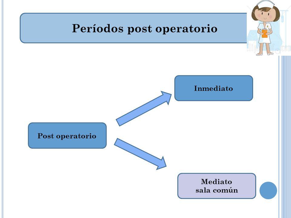 Períodos post operatorio Post operatorio Inmediato Mediato sala común
