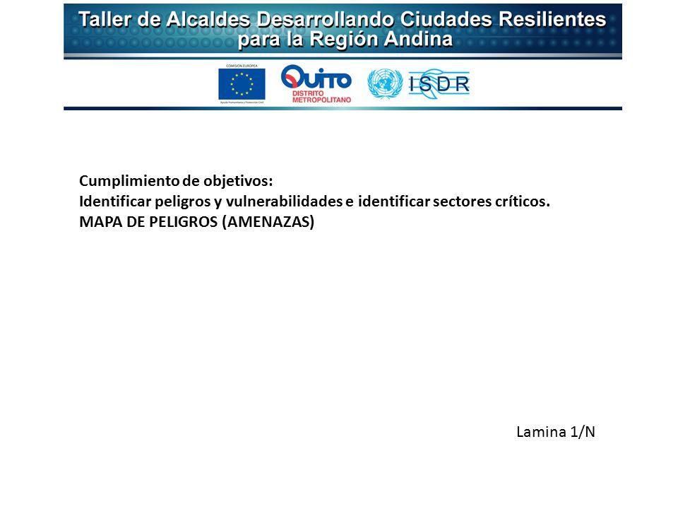 Lamina 1/N Cumplimiento de objetivos: Identificar peligros y vulnerabilidades e identificar sectores críticos.