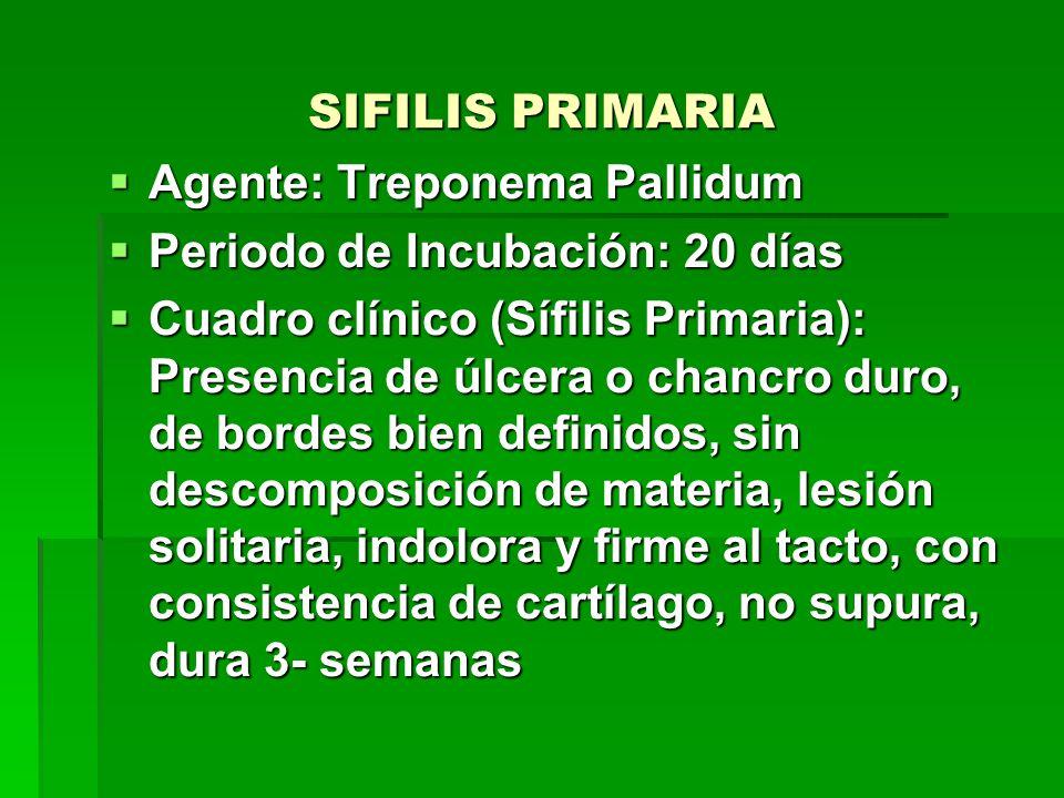 SIFILIS PRIMARIA  Agente: Treponema Pallidum  Periodo de Incubación: 20 días  Cuadro clínico (Sífilis Primaria): Presencia de úlcera o chancro duro, de bordes bien definidos, sin descomposición de materia, lesión solitaria, indolora y firme al tacto, con consistencia de cartílago, no supura, dura 3- semanas