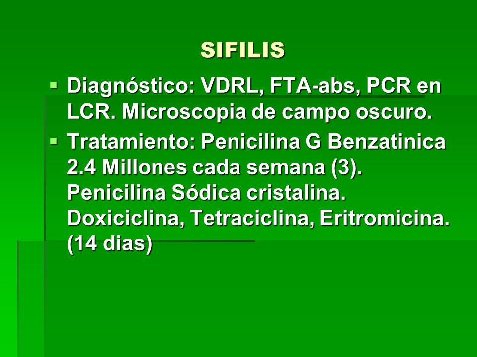 SIFILIS  Diagnóstico: VDRL, FTA-abs, PCR en LCR.Microscopia de campo oscuro.