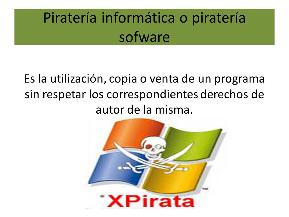 Piratería informática o piratería sofware Es la utilización, copia o venta de un programa sin respetar los correspondientes derechos de autor de la misma.