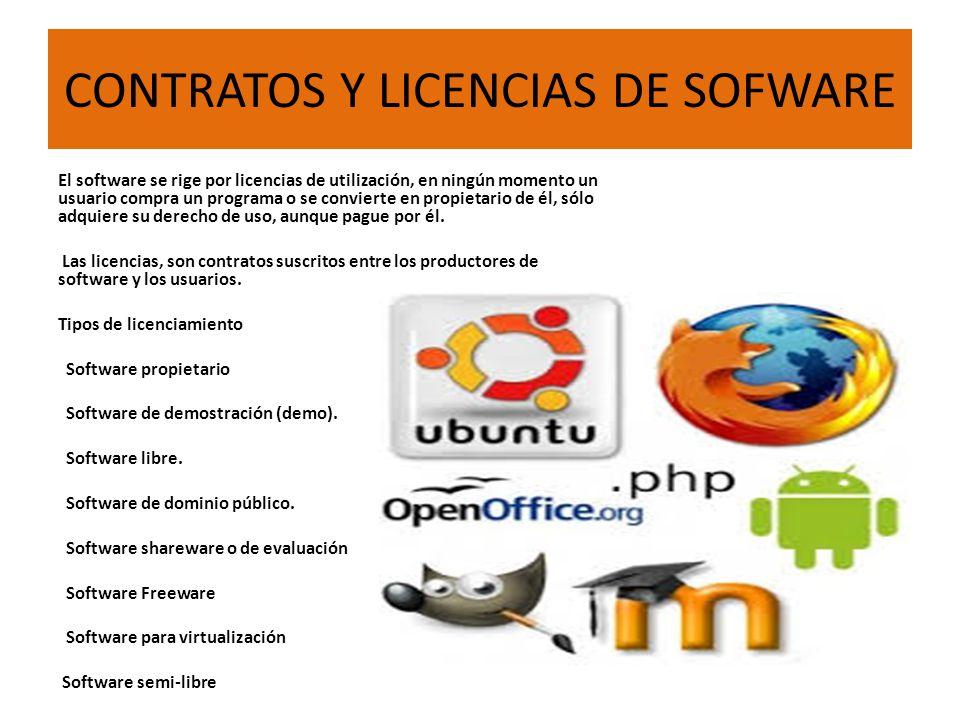 CONTRATOS Y LICENCIAS DE SOFWARE El software se rige por licencias de utilización, en ningún momento un usuario compra un programa o se convierte en propietario de él, sólo adquiere su derecho de uso, aunque pague por él.