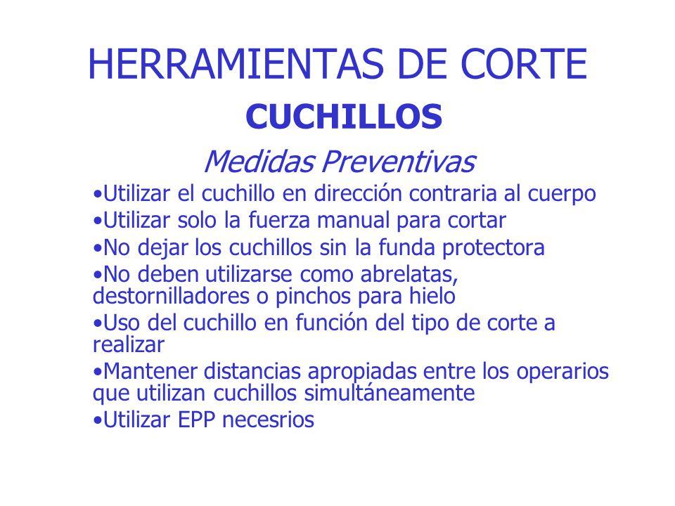 HERRAMIENTAS DE CORTE CUCHILLOS Medidas Preventivas Utilizar el cuchillo en dirección contraria al cuerpo Utilizar solo la fuerza manual para cortar N