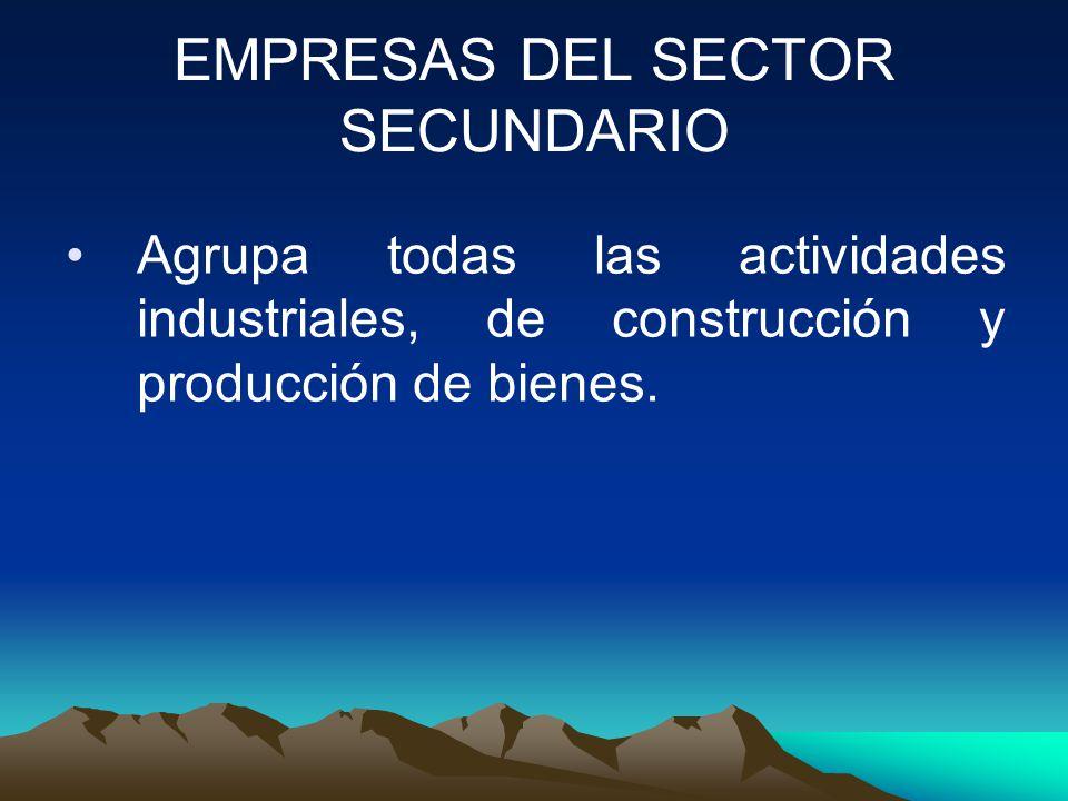 EMPRESAS DEL SECTOR SECUNDARIO Agrupa todas las actividades industriales, de construcción y producción de bienes.