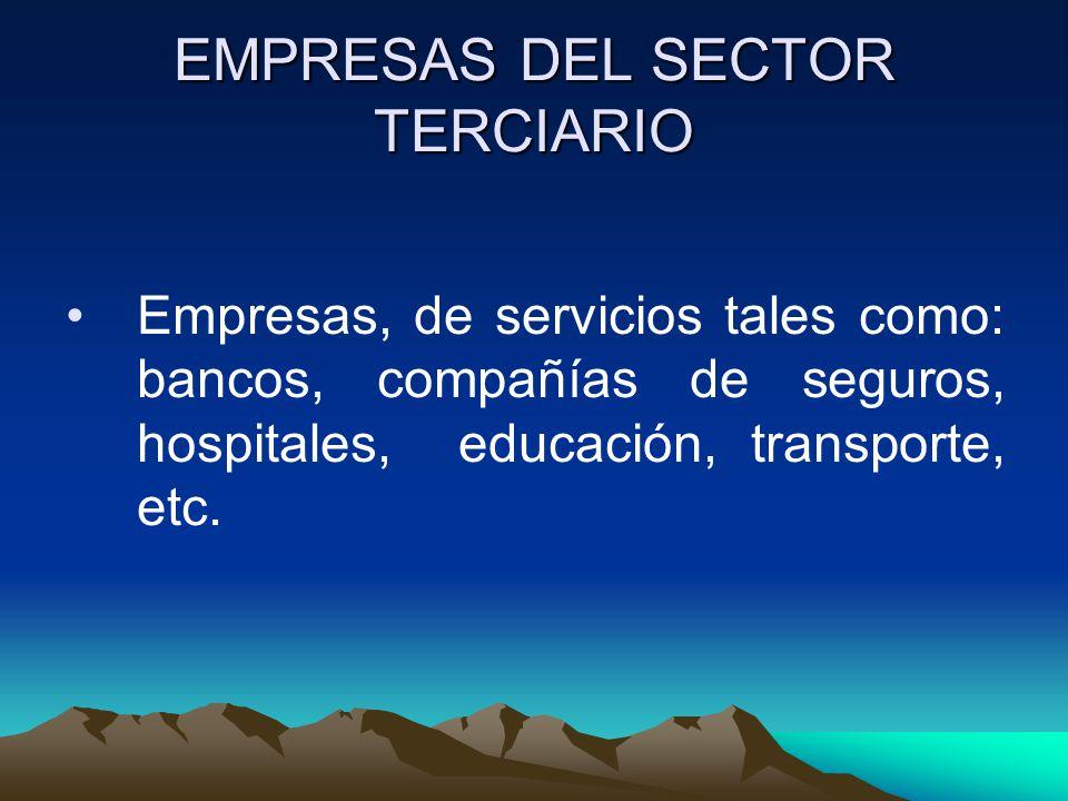 EMPRESAS DEL SECTOR TERCIARIO Empresas, de servicios tales como: bancos, compañías de seguros, hospitales, educación, transporte, etc.