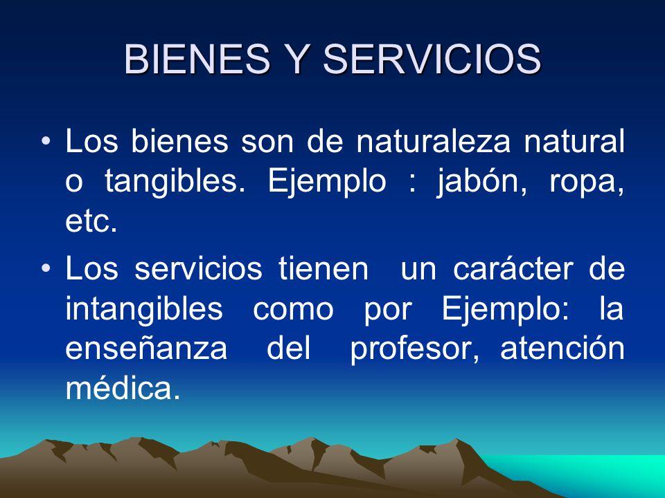 BIENES Y SERVICIOS Los bienes son de naturaleza natural o tangibles.