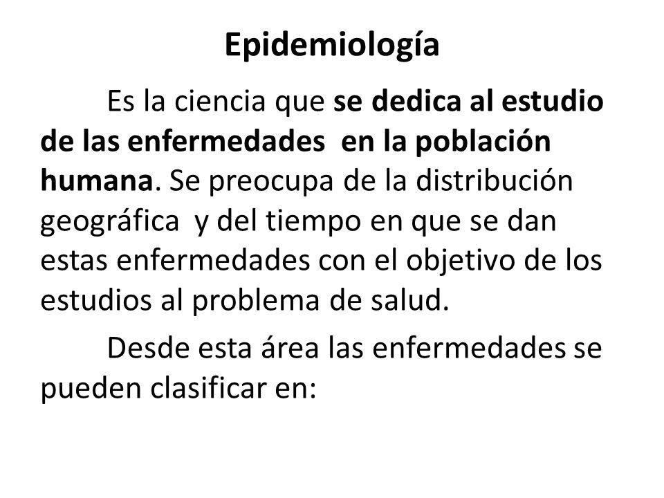 Epidemiología Es la ciencia que se dedica al estudio de las enfermedades en la población humana.