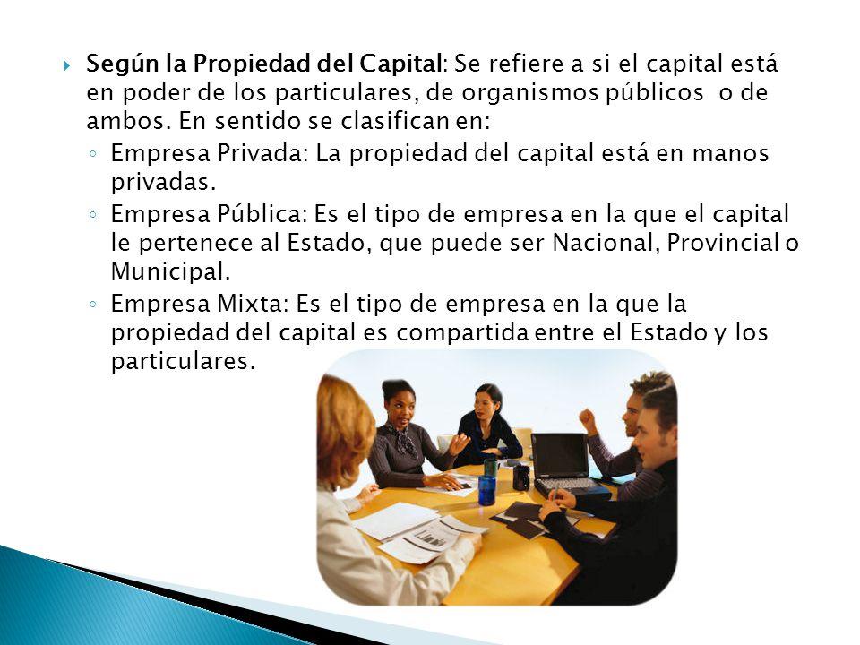  Según la Propiedad del Capital: Se refiere a si el capital está en poder de los particulares, de organismos públicos o de ambos.