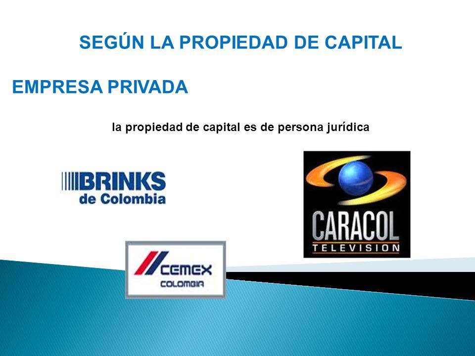 SEGÚN LA PROPIEDAD DE CAPITAL EMPRESA PRIVADA la propiedad de capital es de persona jurídica