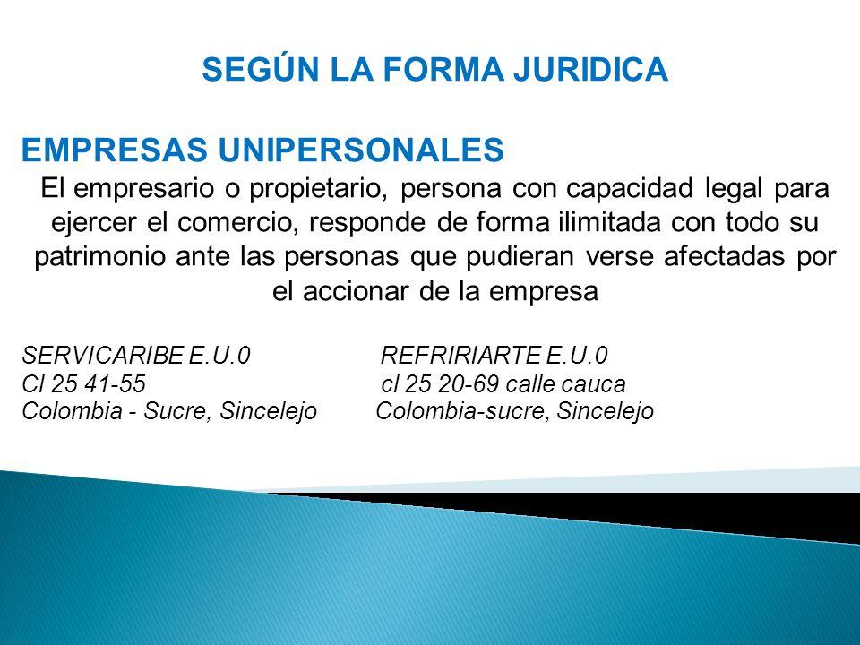 SEGÚN LA FORMA JURIDICA EMPRESAS UNIPERSONALES El empresario o propietario, persona con capacidad legal para ejercer el comercio, responde de forma ilimitada con todo su patrimonio ante las personas que pudieran verse afectadas por el accionar de la empresa SERVICARIBE E.U.0 REFRIRIARTE E.U.0 Cl 25 41-55 cl 25 20-69 calle cauca Colombia - Sucre, Sincelejo Colombia-sucre, Sincelejo